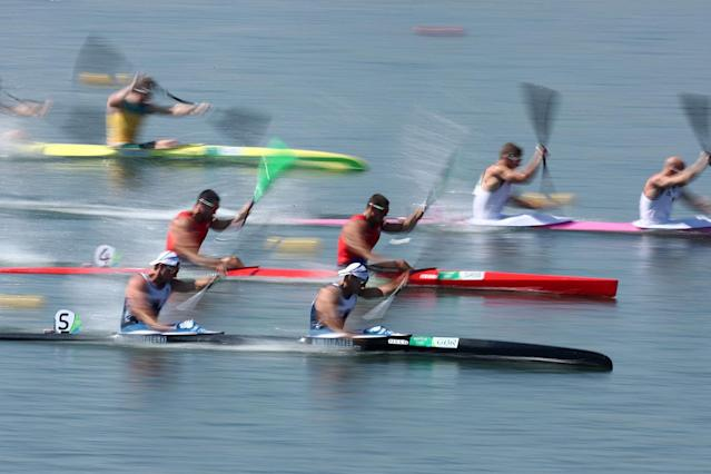 <p>Jon Schofield (bottom L) and Liam Heath (bottom R) of Great Britain compete in the Canoe Sprint Men's Kayak Double 200m semifinal 1 during Day 12 of the Rio 2016 Olympic Games at Lagoa Stadium on August 17, 2016 in Rio de Janeiro, Brazil. (Photo by Patrick Smith/Getty Images) </p>