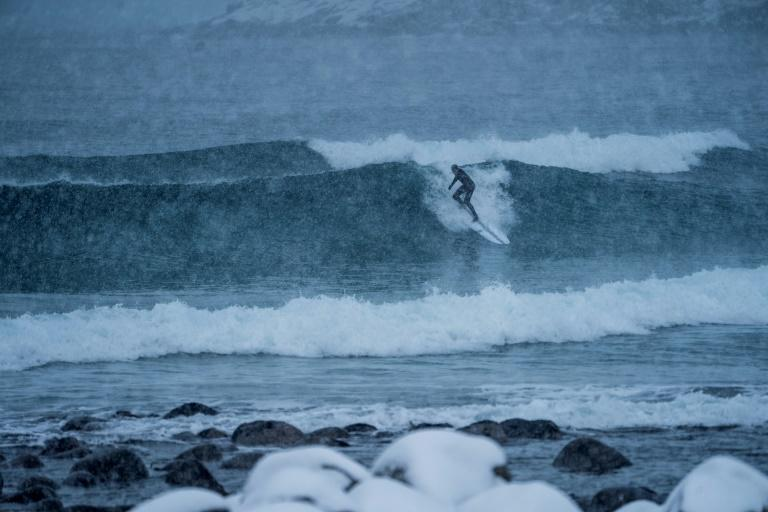 A surfer rides waves under snowfall in northern Norway, Lofoten islands where winter surfing is a popular sport