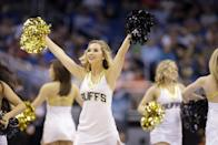 Colorado cheerleaders perform during the first half in a second-round game in the NCAA college basketball tournament Thursday, March 20, 2014, in Orlando, Fla. (AP Photo/John Raoux)