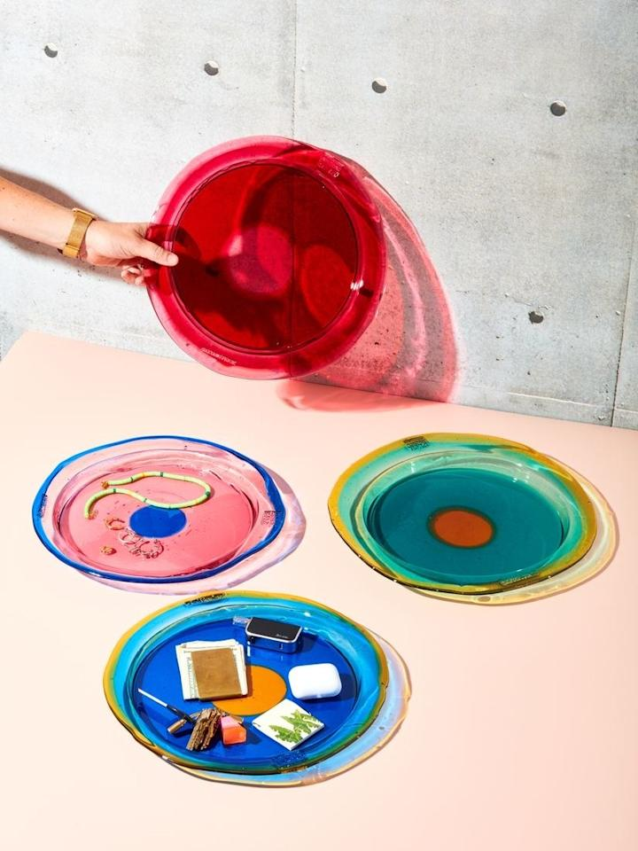 """$95, Coming Soon. <a href=""""https://comingsoonnewyork.com/products/round-try-tray-by-gaetano-pesce?_pos=2&_sid=3f59bae69&_ss=r"""">Get it now!</a>"""