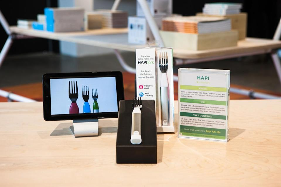 """<p>As many of us know, eating too fast can make you overindulge. Hapi Fork alerts you when you're eating too quickly. In return, you become more conscious of your eating and enjoy your meal more!</p><p>$79 at <a href=""""https://www.hapi.com/store/buy/hapifork"""" rel=""""nofollow noopener"""" target=""""_blank"""" data-ylk=""""slk:Hapi"""" class=""""link rapid-noclick-resp"""">Hapi</a></p>"""
