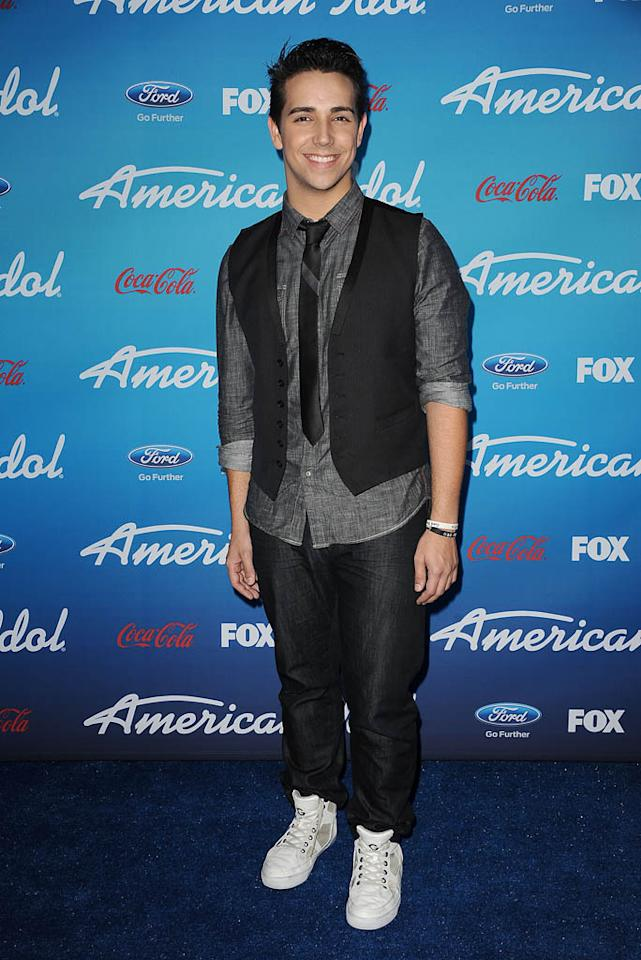 "Lazaro Arbos attends the FOX ""American Idol"" finalists party at The Grove on March 7, 2013 in Los Angeles, California."