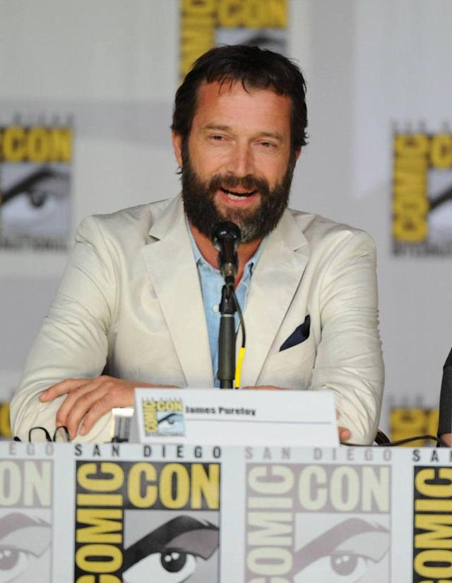 "James Purefoy makes a surprise entrance during ""The Following"" panel on Friday, July 19 during Fox Fanfare At San Diego Comic-Con 2013."