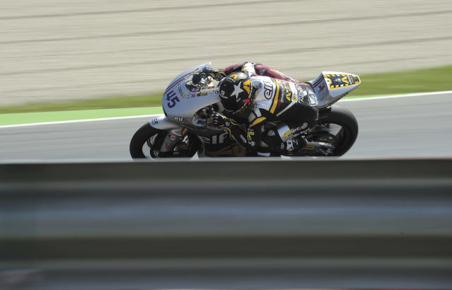 Marc VDS Racing Team's British Scott Redding rides at the Catalunya racetrack in Montmelo, near Barcelona, on June 1, 2012, during the Moto2 second training session of the Catalunya Moto GP Grand Prix. AFP PHOTO / JOSEP LAGOJOSEP LAGO/AFP/GettyImages