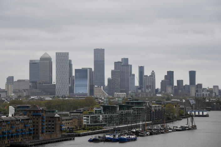 The financial district of London, Saturday, May 8, 2021. On what was dubbed Super Thursday, around 50 million voters were eligible to take part in scores of elections in the UK, some of which had been postponed a year because of the pandemic that has left the U.K. with Europe's largest coronavirus death toll. (AP Photo/Alberto Pezzali)
