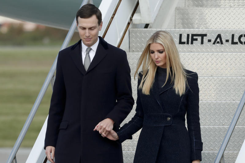 FILE - In this Oct. 30, 2018, file photo, Ivanka Trump, right, departs Air Force One with Jared Kushner in Coraopolis, Pa. An Associated Press investigation found President Donald Trump's daughter and son-in law stand to benefit from a program they pushed that offers massive tax breaks to developers who invest in downtrodden American areas.(AP Photo/Keith Srakocic, File)