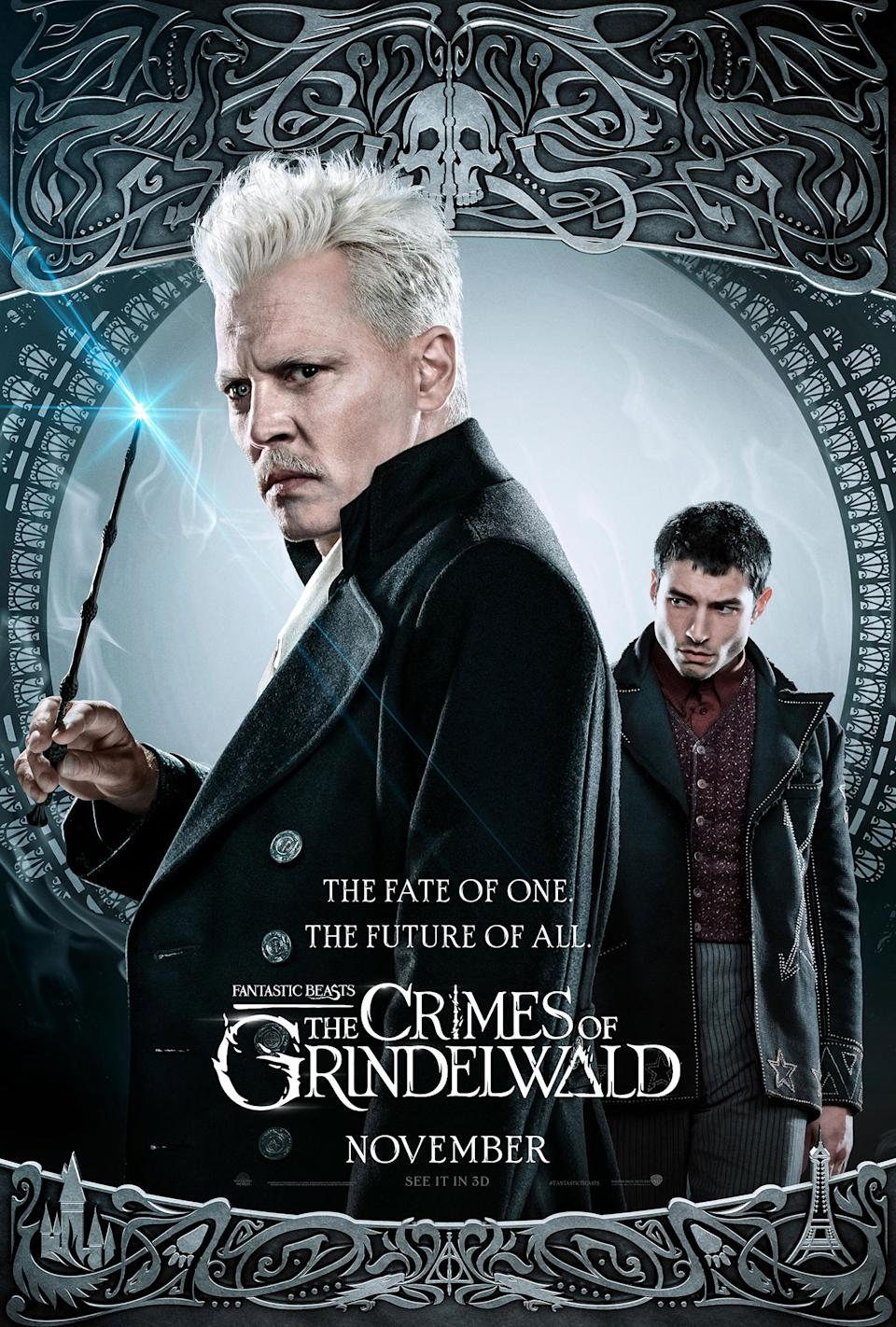 Johnny Depp and Ezra Miller on their own <i>Fantastic Beasts: The Crimes of Grindelwald</i> character poster. (Warner Bros.)