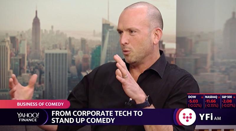 Paul Ollinger let Facebook and is now a comedian. (Photo: screenshot/Yahoo Finance)