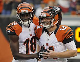 Andy Dalton, pictured with his security blanket (AP Photo/Tony Tribble)