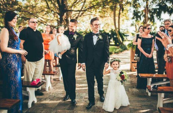 """Matthew and Jamie got married on Sunday and it was the most glorious and lovely wedding! They walked down the aisle with their two little girls and not a single eye remained dry."" -- <i>Nick and Lauren </i>"