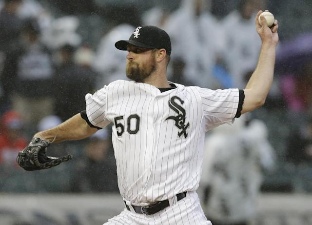 Chicago White Sox starter John Danks throws against the Los Angeles Angels during the first inning of a baseball game in Chicago on Wednesday, July 2, 2014. (AP Photo/Nam Y. Huh)