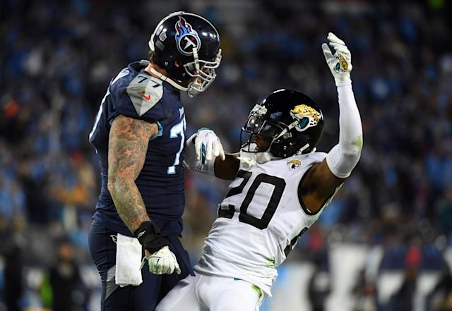 Taylor Lewan (left) and the Tennessee Titans are not to be messed with