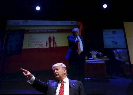 U.S. Republican presidential candidate Donald Trump attends the Family Leadership Summit in Ames