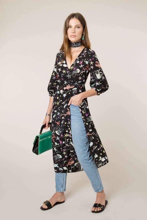"""<p>Rixo Phoebe Under The Sea Midi Wrap Dress, $389, <a href=""""https://rixo.co.uk/products/phoebe-under-the-sea"""" rel=""""nofollow noopener"""" target=""""_blank"""" data-ylk=""""slk:available here."""" class=""""link rapid-noclick-resp"""">available here.</a> </p>"""