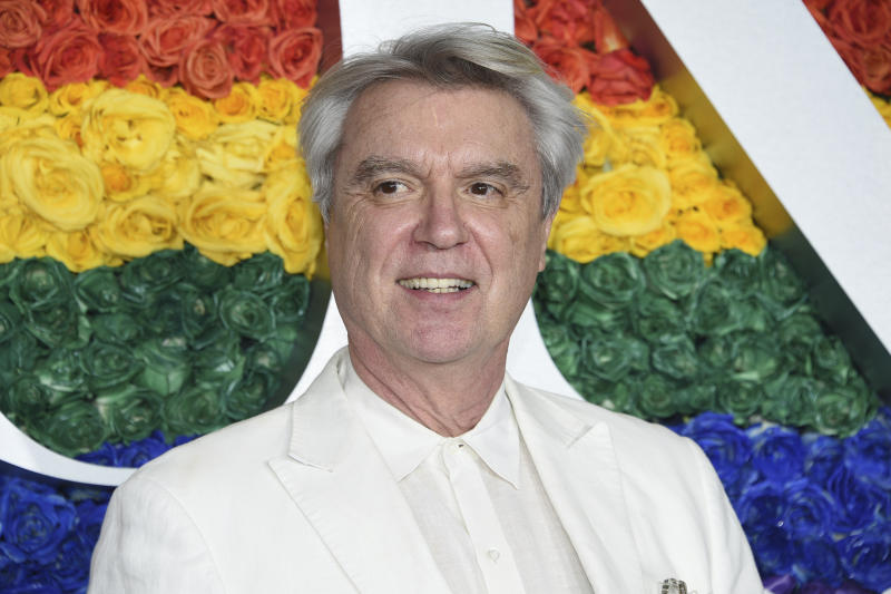 David Byrne arrives at the 73rd annual Tony Awards at Radio City Music Hall on Sunday, June 9, 2019, in New York. (Photo by Evan Agostini/Invision/AP)