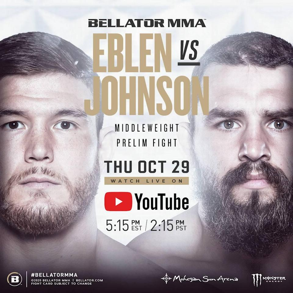"""Middleweight """"Soldier Boy"""" Johnny Eblen (6-0) of American Top Team fights Taylor Johnson (6-1) during Bellator 250 on Thursday, Oct. 30 live on CBS Sports Network from the Mohegan Sun Arena in Uncasville, Connecticut."""
