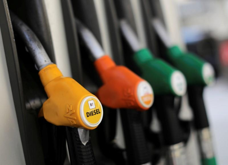 FILE PHOTO: Fuel nozzles at a petrol station in Nice, France