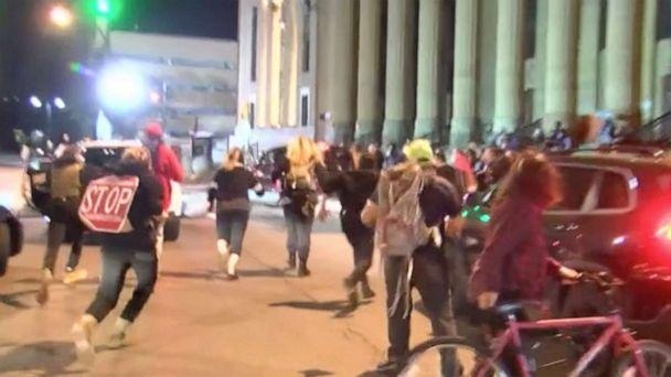 PHOTO: In this screen grab from a video, protesters run after a truck after sped through a crowd and hit a person during a protest outside City Hall in Buffalo, NY., Sept. 23, 2020. (WKBW)