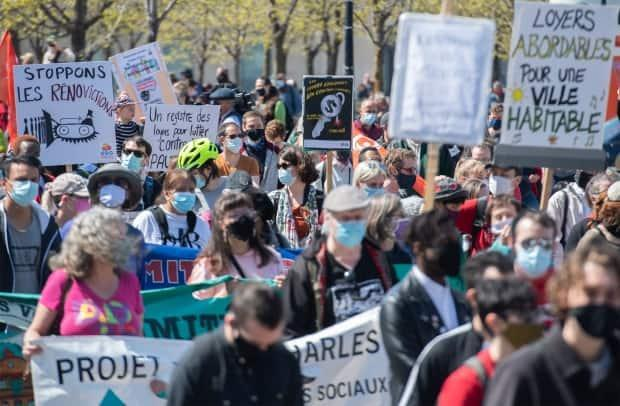 The protest in Montreal was one of several being held around the province on Saturday.  (Graham Hughes/The Canadian Press - image credit)