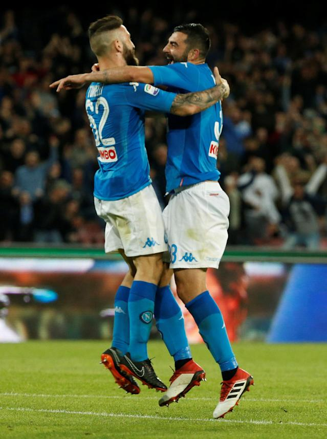 Soccer Football - Serie A - Napoli vs Udinese Calcio - Stadio San Paolo, Naples, Italy - April 18, 2018 Napoli's Lorenzo Tonelli celebrates scoring their fourth goal with Raul Albiol REUTERS/Ciro De Luca