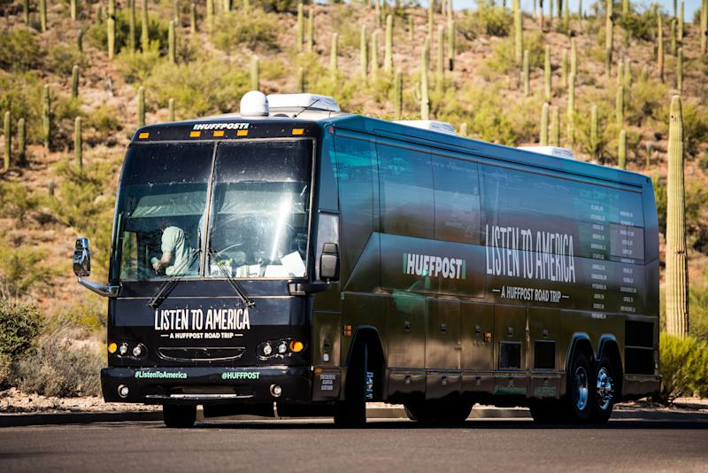 "The HuffPost bus sits amid cacti during HuffPost's visit to Tucson, Arizona, on Oct. 20 as part of ""Listen To America: A HuffPost Road Trip."""