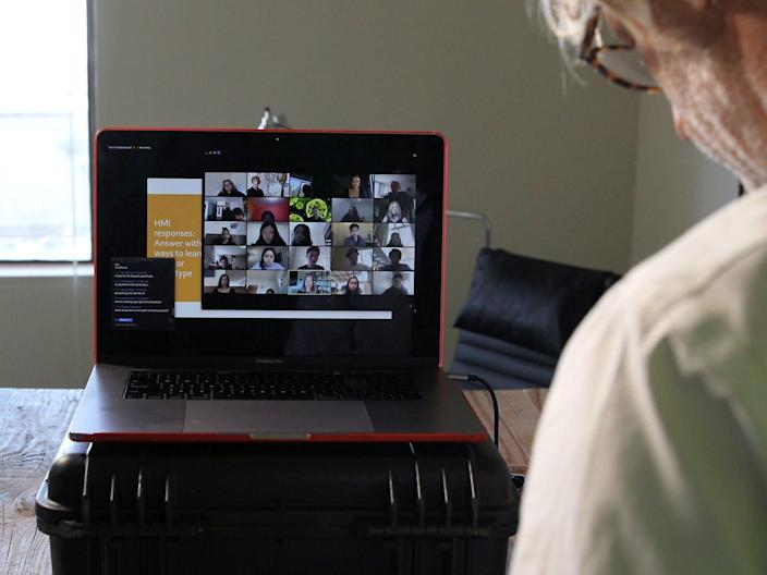 Two professors from the University of California, Berkeley use Zoom to teach their students through an online course.