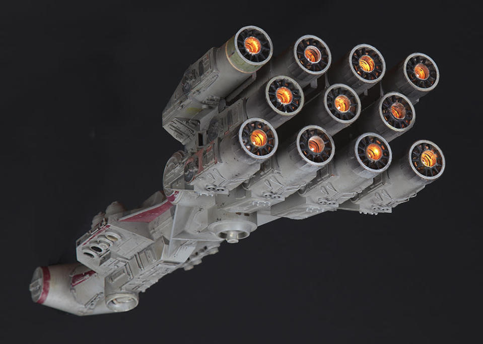 Audiences had no idea what they were in for when they sat down to see 'Star Wars' in the summer of 1977, and this Rebel Blockade Runner was one of the first images that greeted them on screen. It was carrying Princess Leia, C-3PO and R2-D2, though it wasn't able to deliver them to safety. It comes from the collection of Grant McCune, who won an Oscar for Best Visual Effects for the original film. It is the only Blockade Runner made in this size, and given its significance, it should go for $200,000-300,000. (Profiles in History)
