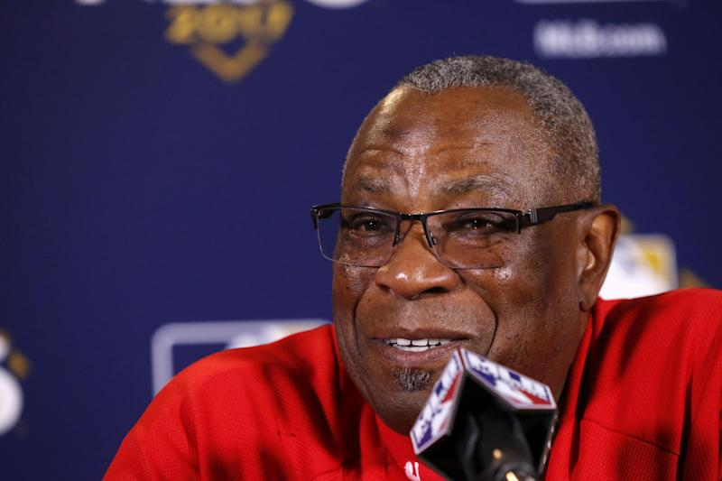 Washington Nationals manager Dusty Baker talks during a news conference before Game 4 of baseball's National League Division Series against the Chicago Cubs, Wednesday, Oct. 11, 2017, in Chicago. (AP Photo/Charles Rex Arbogast)