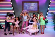 Waxworks artists at the unveiling of Little Mix waxwork figures at Madame Tussauds, in London