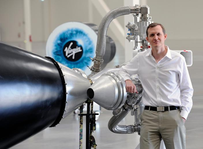 George Whitesides, CEO of Virgin Galactic, stands inside Virgin Galactic's new LauncherOne facility in Long Beach, California, on March 6, 2015.