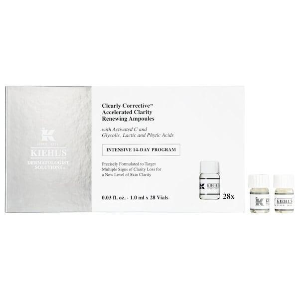 <p>Deal with dullness and uneven tone and texture with a two-week solution of <span>Kiehl's Since 1851 Clearly Corrective Accelerated Clarity and Renewing Ampoules</span> ($95) packed with activated vitamin C and a blend of glycolic, lactic, and phytic acids.</p>