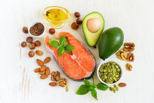 """<span class=""""caption"""">Fat gives us energy and helps us absorb certain vitamins.</span> <span class=""""attribution""""><a class=""""link rapid-noclick-resp"""" href=""""https://www.shutterstock.com/image-photo/food-sources-omega-3-healthy-fats-417496159"""" rel=""""nofollow noopener"""" target=""""_blank"""" data-ylk=""""slk:colnihko/ Shutterstock"""">colnihko/ Shutterstock</a></span>"""