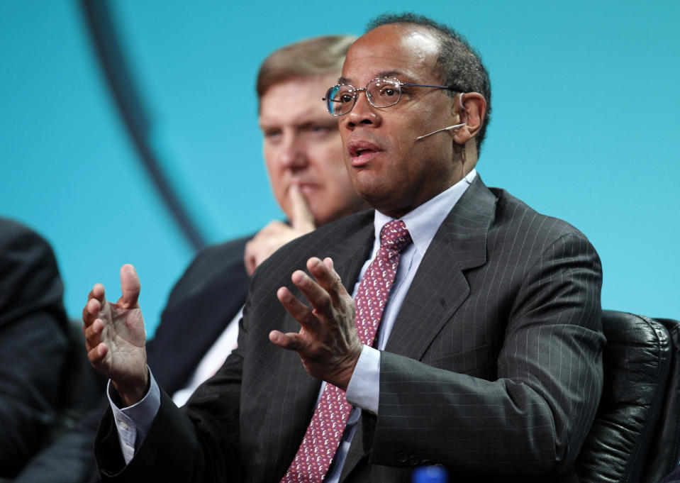 """John Rogers Jr., Founder, Chairman and CEO, Ariel Investments, takes part in a panel discussion titled """"U.S. Overview: Is the Recovery Sustainable?"""" at the Milken Institute Global Conference in Beverly Hills, California May 1, 2012. REUTERS/Danny Moloshok (UNITED STATES - Tags: BUSINESS)"""
