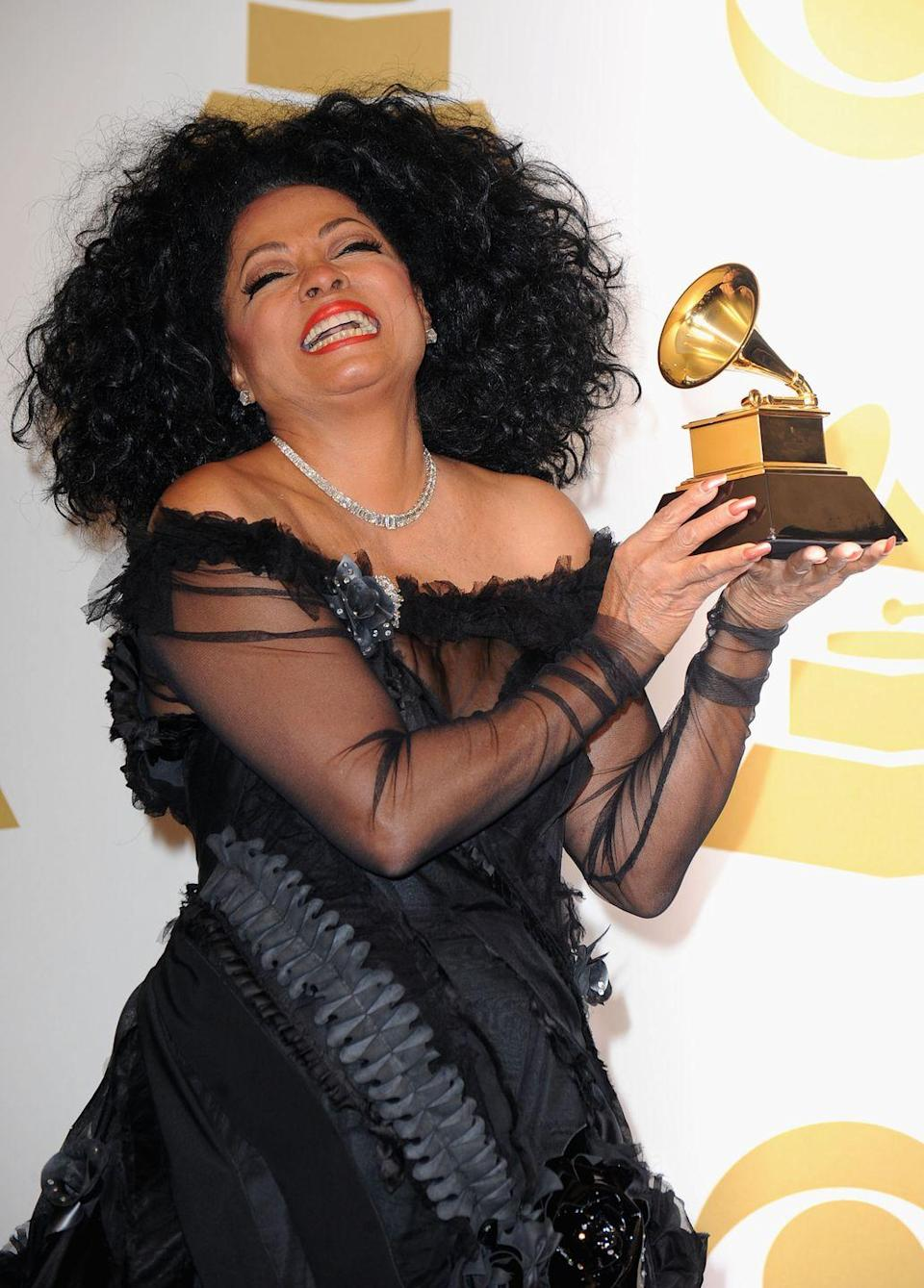 <p>Diana Ross was presented with a Lifetime Achievement Award at the Grammys in 2012. The tribute was Ross's first-ever Grammy, despite being nominated 12 times throughout her incredible career. </p>