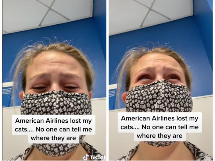 """On the left, a screenshot of a TikTok showing an upset woman wearing a mask with the caption """"American Airlines lost my cats.... No one can tell me where they are."""" On the right, the same woman in a different position with the same caption."""