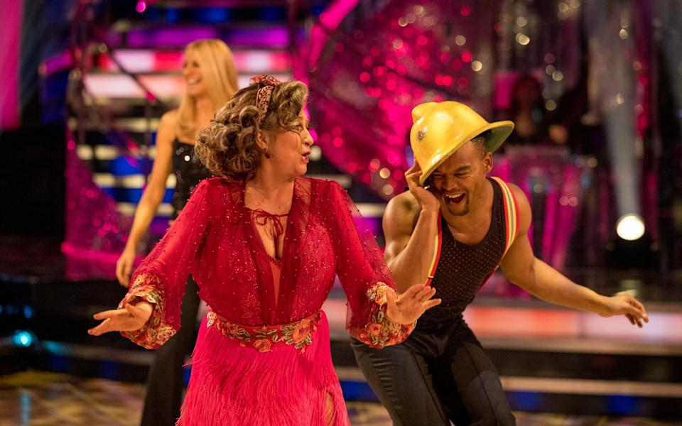 Tess Daly, Caroline Quentin, and Johannes Radebe on Strictly Come Dancing