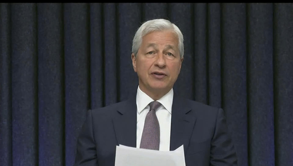 This image from video provided by the Senate Banking Committee shows JPMorgan Chase CEO Jamie Dimon testifying virtually to the Senate Banking Committee Wednesday, May 26, 2021. (Senate Banking Committee via AP)