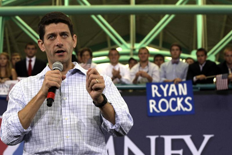 Republican vice presidential candidate, Rep. Paul Ryan, R-Wis., speaks during a campaign event at East Carolina University, Monday, Sept. 3, 2012, in Greenville, N.C. (AP Photo/Mary Altaffer)