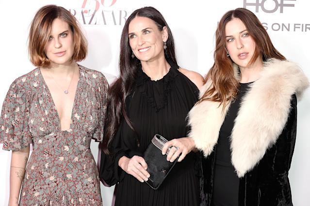 Tallulah Willis (left, with sister Scout) celebrated her mom Demi Moore in an emotional Mother's Day post on Instagram, looking back on the three-year period they didn't speak. (Photo: David Crotty/Patrick McMullan via Getty Images)