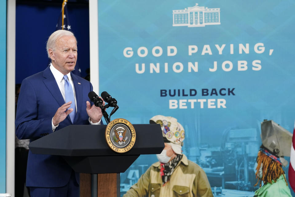 President Joe Biden speaks about his September jobs report, Friday, October 8, 2021, from the Southern Courthouse on the White House campus in Washington.  (AP Photo/Susan Walsh)