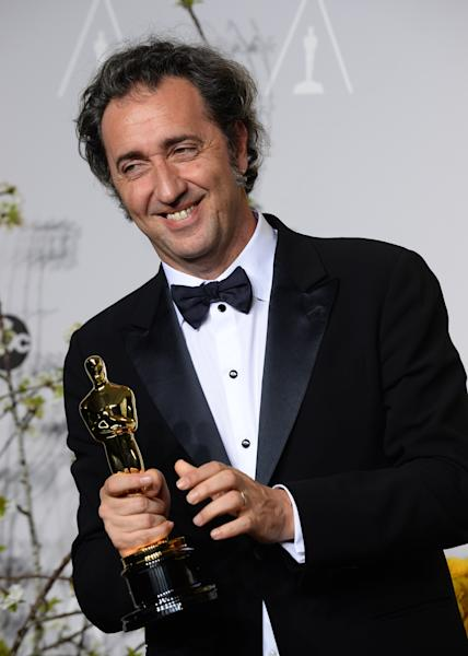 "Paolo Sorrentino poses in the press room with the award for best foreign language film of the year for ""The Great Beauty"" during the Oscars at the Dolby Theatre on Sunday, March 2, 2014, in Los Angeles. (Photo by Jordan Strauss/Invision/AP)"