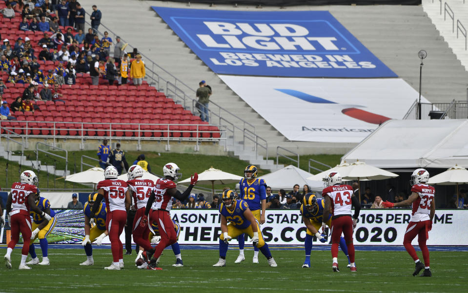 Advertising on lower-bowl seating, such as this Bud Light ad at Los Angeles Memorial Coliseum in 2019, could help teams recoup lost ticket revenue this season. (Photo by John McCoy/Getty Images)