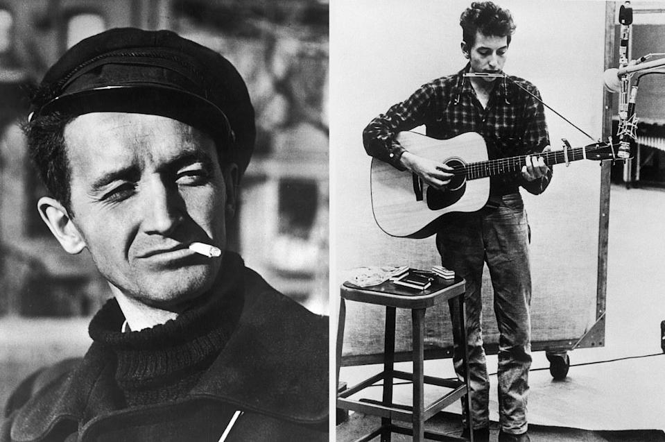 Woody Guthrie and Bob Dylan in their younger days