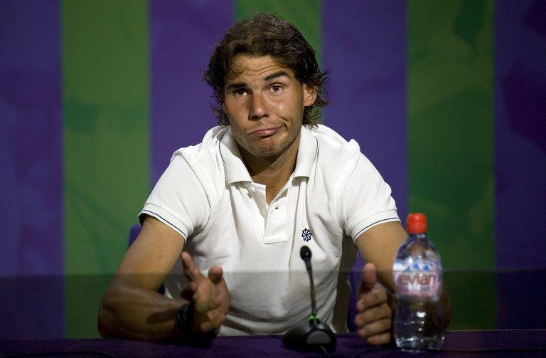 This file photo shows Rafael Nadal speaking during a press conference after his 2nd round defeat by Czech Republic's Lukas Rosol at the Wimbledon Championships tennis tournament, southwest London, on June 28, 2012. Nadal heads into 2013 with his career in freefall and needing to summon up the no-surrender spirit that steered him to 11 Grand Slam titles
