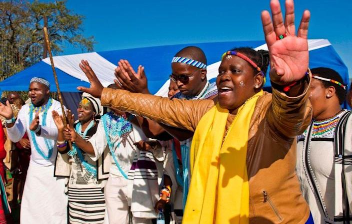 Khoi activists, Khoi San community members, relatives and government officials attend the symbolic burial ceremony of Khoisan Traditional leader and freedom fighter David Stuurman on June 16, 2017 in Hankey, South Africa