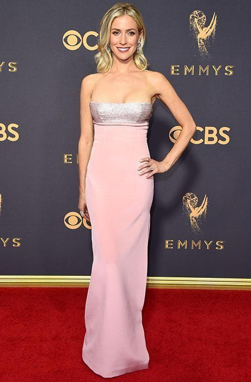 Kristin Cavallari went for this slimline pink number with a pop of sparkle up top. Photo: Getty