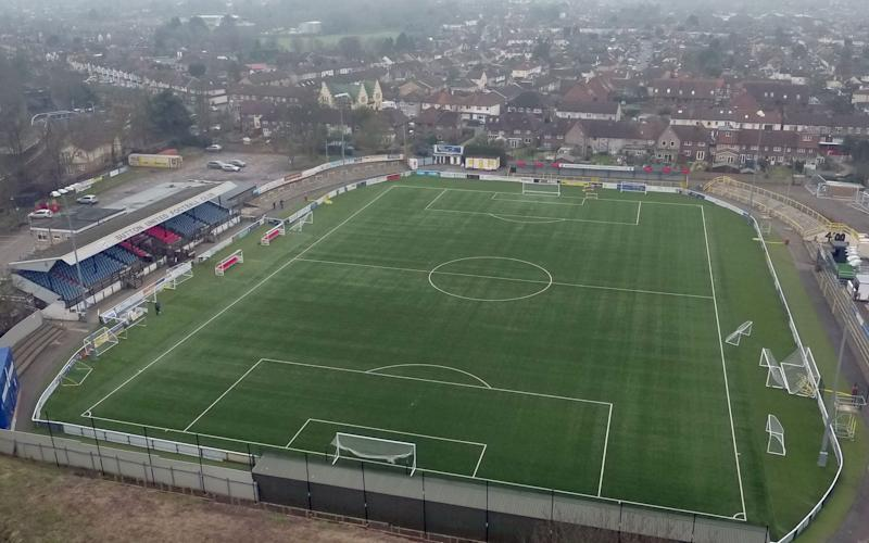 An aerial view of Gander Green Lane, home of Sutton United Football Club - PA
