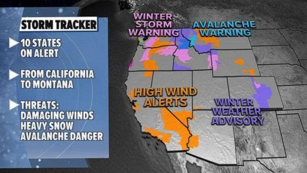 PHOTO: On Thursday morning, 10 states are on alert from California to Montana with damaging winds, heavy snow and avalanche danger as a winter storm warning continues for Denver early today. (ABC News)