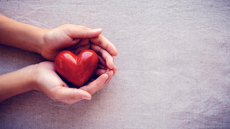 child hands holding red heart, health care, love and family concept, world heart day.