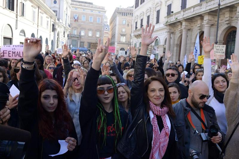 Italian actress Asia Argento (third from left) attends the Rome Resists demonstration part of the Women's March (AFP/Getty Images)